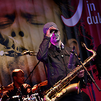 Nederland. Den Bosch. 10 juni 2011..De Jazzband Fra Fra Sound tijdens jazzfestival, Jazz in Duketown in Den Bosch..Jazzband  Fra Fra Sound performing at the  jazz festival, Jazz in Duketown in Den Bosch, the Netherlands.