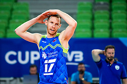 Tine Urnaut of Slovenia and Alberto Giuliani, head coach of Slovenia during volleyball match between Slovenia and Chile in Group A of FIVB Volleyball Challenger Cup Men, on July 3, 2019 in Arena Stozice, Ljubljana, Slovenia. Photo by Matic Klansek Velej / Sportida