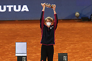 Alexander Zverev of Germany celebrates with the trophy after winning the Men's Singles Final match against Matteo Berrettini of Italy at the Mutua Madrid Open 2021, Masters 1000 tennis tournament on May 9, 2021 at La Caja Magica in Madrid, Spain - Photo Laurent Lairys / ProSportsImages / DPPI