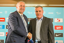 Tomaz Kavcic and Radenko Mijatovic during Press conference of Football Association of Slovenia, on December 4, 2017 in National Football Centre, Brdo pri Kranju, Slovenia. Photo by Ziga Zupan / Sportida