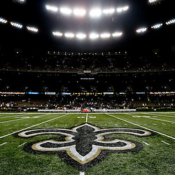Sep 22, 2013; New Orleans, LA, USA; A general view from mid-field following a game between the New Orleans Saints and the Arizona Cardinals at Mercedes-Benz Superdome. The Saints defeated the Cardinals 31-7. Mandatory Credit: Derick E. Hingle-USA TODAY Sports