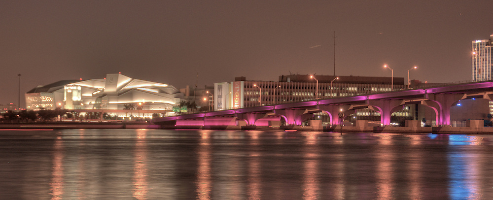 Night View of Center of Performing Arts in Miami, also Called Carnival Center, and Biscayne Bay with Julia Tuttle Causeway.