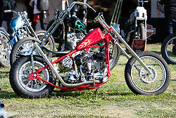Invited BF11 Canadian builder Shamus Mathers' 1939 Harley-Davidson ULH Flathead chopper at the Invited Builders corral at the end of the day at the Born Free Motorcycle Show (BF11) at Oak Canyon Ranch, Silverado  CA, USA. Saturday, June 22, 2019. Photography ©2019 Michael Lichter.