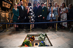 The ashes of Professor Stephen Hawking are laid to rest during his memorial service at Westminster Abbey, London.