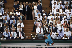 June 10, 2018 - Paris, Ile-de-France, France - Rafael Nadal of Spain serves during the mens singles final against Dominic Thiem of Austria during day fifteen of the 2018 French Open at Roland Garros on June 10, 2018 in Paris, France. (Credit Image: © Mehdi Taamallah/NurPhoto via ZUMA Press)