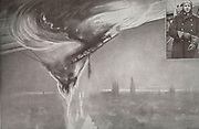 Chased over Ghent and reached the lieutenant aviator Warneford of the Royal Navy, alone, monoplane, the huge airship down in flames over the city on June 7, 1915. Top, right, Second Lieutenant Warneford.