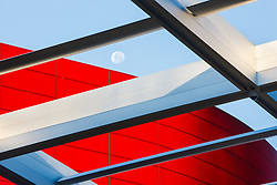 Sky canopy and red glass facade of Winspear Opera House, Dallas, Texas, USA.  Designed by Pritzker Prize winning architect Norman Foster.