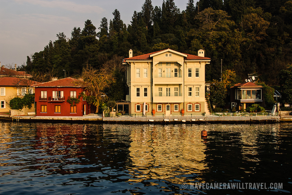 Private homes on the Asian bank district of Beylerbeyi on the Bosphorus in Istanbul. Strict rules govern who can own property on the Bosphorus waterfront.