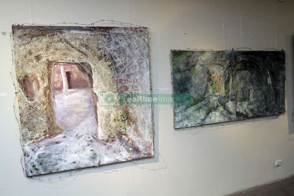 March 21, 2019 - Dnirpo, Ukraine - The canvas shows the remains of the Çembalo Fortress situated in Balaklava, a suburb of Sevastopol, at the exhibition of artworks from the #Qirim project by Dnipro-based artist Serhii Burbelo at the Museum of Ukrainian Painting, Dnirpo, central Ukraine, March 21, 2019. Key landmarks of the Crimean Peninsula became the subjects of the paintings. The display commemorates the 5th anniversary of Crimea's occupation and 75 years since the deportation of the Crimean Tatars. Ukrinform. (Credit Image: © Mykola Miakshykov/Ukrinform via ZUMA Wire)