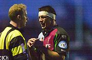 Twickenham, England. Zurich Premiership. Andre VOS and referee Wayne BARNES, Harlequins vs Rotherham Titans The Stoop Surrey. 16.04.2004. [Mandatory Credit: Peter Spurrier/Intersport-images].