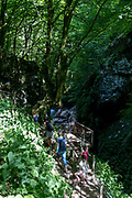 A family climb up from a viewing platform in Tolmin Gorge (Tolminska Korita), on 20th June 2018, in Tolmin Gorge , Slovenia.