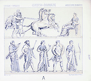 Ancient Greek Roman fashion and accessories from Geschichte des kostüms in chronologischer entwicklung (History of the costume in chronological development) by Racinet, A. (Auguste), 1825-1893. and Rosenberg, Adolf, 1850-1906, Volume 1 printed in Berlin in 1888