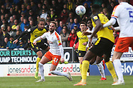 Burton Albion midfielder Marcus Harness (16) shoots at goal during the EFL Sky Bet League 1 match between Burton Albion and Luton Town at the Pirelli Stadium, Burton upon Trent, England on 27 April 2019.