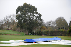 General view of the covers as rain delays the start of Day One at Taunton Vale between Somerset and Durham MCCU. - Photo mandatory by-line: Harry Trump/JMP - Mobile: 07966 386802 - 02/04/15 - SPORT - CRICKET - Pre Season Fixture - Day One - Somerset v Durham MCCU - Taunton Vale Cricket Ground, Somerset, England.