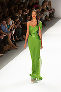 Bright green tone-on-tone one-shoulder gown. By Carlos Miele at the Spring 2013 Mercedes-Benz Fashion Week in New York.