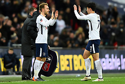 February 7, 2018 - London, United Kingdom - Tottenham Hotspur's Son Heung-Min is substituted for Christian Eriksen during the FA Cup Fourth Round replay match between Tottenham Hotspur and Newport County at Wembley stadium, London, England on 10 Feb  2018. (Credit Image: © Kieran Galvin/NurPhoto via ZUMA Press)