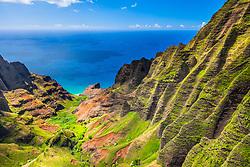 Honopu Valley, Na Pali Coast, Kauai, Hawaii, USA, Pacific Ocean