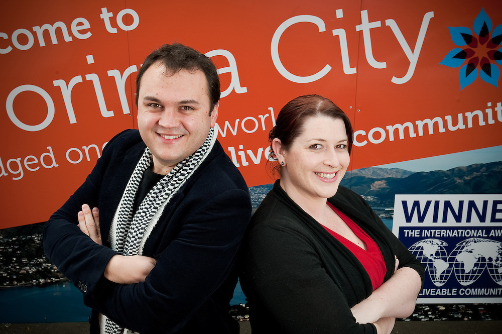 """Porirua Mayor Nick Leggett and Chamber of commerce CE Holly Thompson to illustrate the partnership and co-operation they have for """"Mayoral Porirua Showcase"""" event publication. Friday July 22, 2011...Photo by Mark Tantrum   www.marktantrum.com"""