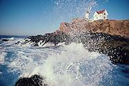 York Beach,  Maine, Nubble Light, waves crashing