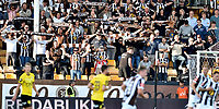 Fotball, 12. august 2019 , Eliteserien ,  Lillestrøm - Mjøndalen<br /> <br /> illustrasjon , fan , fans , flagg , skjerf , 3050 , MIF , tribune