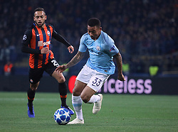 October 23, 2018 - Kharkiv, Ukraine - Forward Gabriel Jesus (R) of Manchester City FC and midfielder Maycon of FC Shakhtar Donetsk are seen in action during the UEFA Champions League Group F Matchday 3 game at the Metalist Stadium Regional Sports Complex, Kharkiv, northeastern Ukraine, October 23, 2018. Ukrinform. (Credit Image: © Danil Shamkin/Ukrinform via ZUMA Wire)