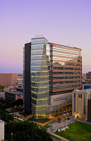 Aerial view of Texas Children's Hospital in Houston's Texas Medical Center at dusk.