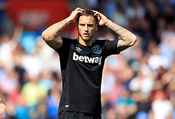 West Ham United's Marko Arnautovic reacts to being shown a red card during the Premier League match at St Mary's, Southampton.