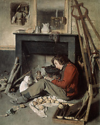 The Artist's Studio' 1845. Oil on canvas. Octave Tassaert (1800-1874) French genre and portrait painter. Artist and his white cat sitting in front of the fire on which is a cooking pot. Argand lamp on mantlepiece.   Paint Box Easel