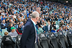 April 28, 2018 - Sydney, NSW, U.S. - SYDNEY, NSW - APRIL 28: Sydney FC and new Socceroo coach Graham Arnold acknowledges the crowd at the A-League Semi-Final Soccer Match between Sydney FC and Melbourne Victory on April 28, 2018 at Allianz Stadium in Sydney, Australia. (Photo by Speed Media/Icon Sportswire) (Credit Image: © Speed Media/Icon SMI via ZUMA Press)