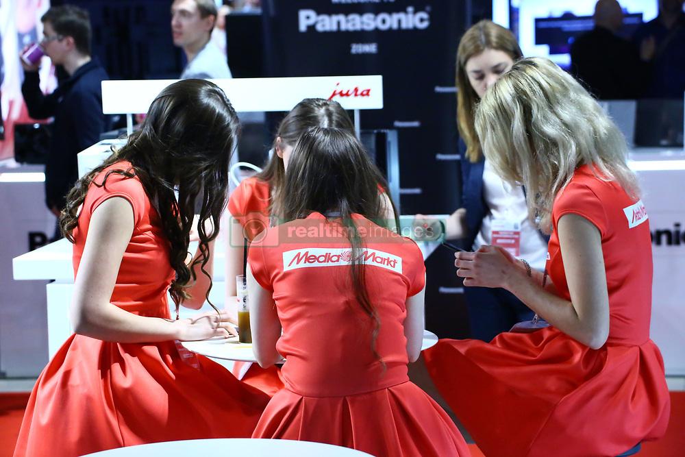 April 13, 2018 - Warsaw-Nadarzyn, Poland - Warsaw expo center PTAK presents electroincs show. Main show partner Media Markt hosts several exhibitors as LG, Samsung, Tesla, Grundig and Beko. (Credit Image: © Jakob Ratz/Pacific Press via ZUMA Wire)