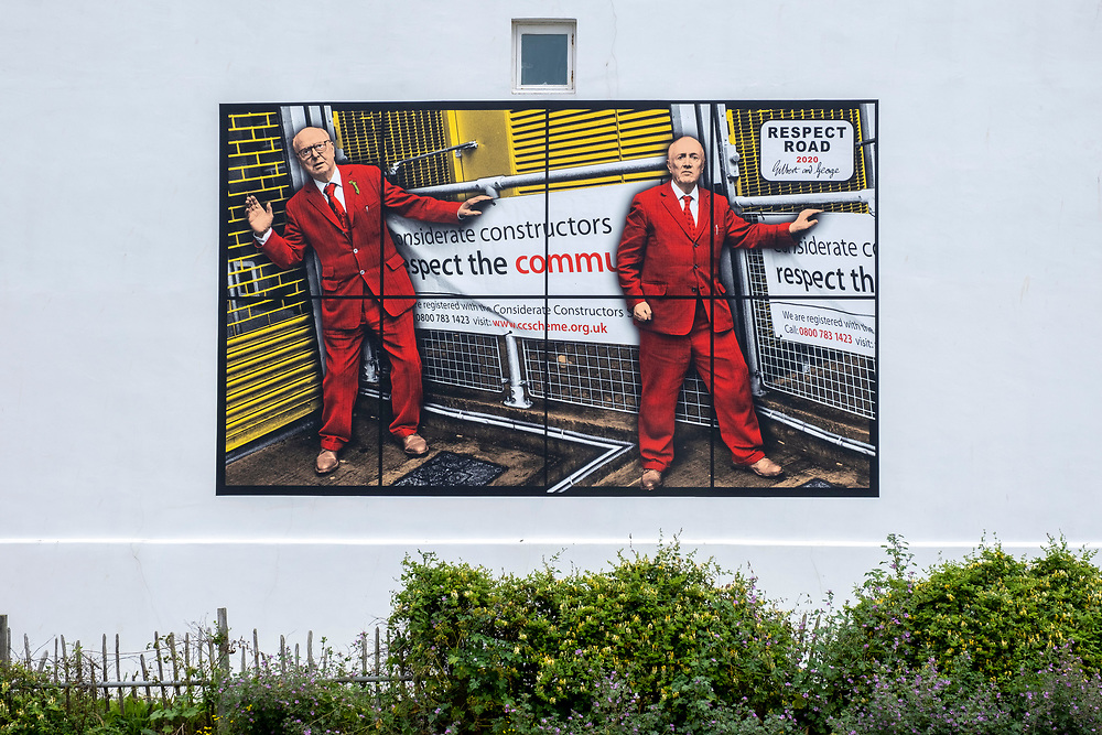 Respect Road 2020 by artists Gilbert & George, one of six images that will be displayed as billboards for the Creative Folkestone Triennial 2020, The Plot. This is Folkestone's 5th open air art exhibition and the third one curated by Lewis Biggs. The Plot sees 27 newly commissioned artworks appearing around the south coast seaside town. The new work builds on the work from previous triennials making Folkestone the biggest urban outdoor contemporary art exhibition in the UK.  (photo by Andrew Aitchison / In pictures via Getty Images)