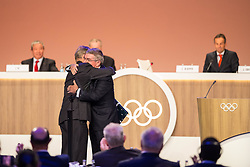 LIMA, Sept. 16, 2017  International Olympic Committee (IOC) President Thomas Bach (R) hugs new IOC honorary member Gerard Heiberg during the 131st IOC session in Lima, Peru, on Sept. 15, 2017. The 131st IOC session concluded on Friday. (Credit Image: © Li Ming/Xinhua via ZUMA Wire)