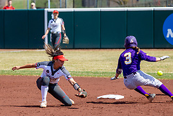 NORMAL, IL - April 06: Taylor Vanderpool covers 2nd base on a slide in by Courtney Krodinger during a college women's softball game between the ISU Redbirds and the University of Northern Iowa Panthers on April 06 2019 at Marian Kneer Field in Normal, IL. (Photo by Alan Look)