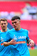 Harrogate Town defender Ryan Fallowfield (2) in the warm up  during the Vanarama National League Promotion Final match between Harrogate Town and Notts County at Wembley Stadium, London, England on 2 August 2020.