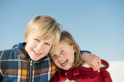 Portrait of girl and boy, smiling, Bavaria, Germany