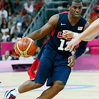 06 August 2012: USA Chris Paul dribbles during 126-97 Team USA victory over Team Argentina, during the men's basketball preliminary, at the Basketball Arena, in London, Great Britain.