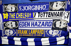 Chelsea and Tottenham Hotspur scarfs on sale before the Carabao Cup Semi Final, second leg match at Stamford Bridge, London.