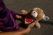 A man holding a teddy picker prize, a teddy bear with Im All Yours written on it as temperatures in the country are expected to soar this week on 7th September, 2021 in Blackpool, United Kingdom. Temperatures in the UK are predicted to soar to highs of 29 degrees celsius, coinciding with a rise in daycation and staycation domestic tourism in the country as a result of Covid-19 precautions that make foreign travel increasingly costly and difficult.