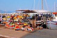 Harbour side fruit stall, Aegina port, Greek Saronic Islands. .<br /> <br /> If you prefer to buy from our ALAMY PHOTO LIBRARY  Collection visit : https://www.alamy.com/portfolio/paul-williams-funkystock/aegina-greece.html <br /> <br /> Visit our GREECE PHOTO COLLECTIONS for more photos to download or buy as wall art prints https://funkystock.photoshelter.com/gallery-collection/Pictures-Images-of-Greece-Photos-of-Greek-Historic-Landmark-Sites/C0000w6e8OkknEb8