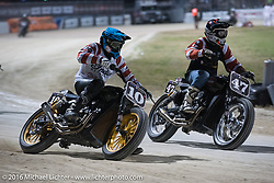 Roland Sands (#10) and Jamie Robinson (#47) battle it out for the lead in the AMA Flat Track and Super Hooligan racing at Daytona Speedway's Flat Track during Daytona Bike Week's 75th Anniversary event. Ormond Beach, FL, USA. Thursday March 10, 2016.  Photography ©2016 Michael Lichter.