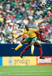 July 17, 2005; Houston, TX, USA; LUCAS THWALA (3) of the South Africa Bafana and JORGES LUIS DELY VALDES (7) of the Panama Canaleros battle for the ball during Quarterfinal CONCACAF Gold Cup action at Reliant Stadium in Houston, Texas. Panama defeated South Africa 5-3 on penalty kicks after a 1-1 draw in regulation. Photo by Frank Casimiro/ZUMA Press. (©) Copyright 2005 by Frank Casimiro