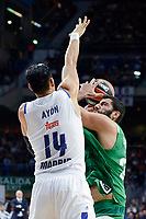 Real Madrid's player Gustavo Ayon and Panathinaikos's player Ioannis Bourousis during match of Turkish Airlines Euroleague at Barclaycard Center in Madrid. November 16, Spain. 2016. (ALTERPHOTOS/BorjaB.Hojas)