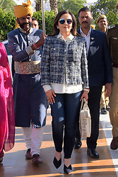 December 18, 2018 - Jaipur, Rajasthan, India - Mumbai Indians owner Nita Ambani (C) arrives for the Indian Premier League 2019 auction in Jaipur on December 18, 2018, as teams prepare their player rosters ahead of the upcoming Twenty20 cricket tournament next year. The 2019 edition of the IPL -- one of the world's most-watched sporting events attracting the world's top stars -- is set to take place in April and May next year.(Photo By Vishal Bhatnagar/NurPhoto) (Credit Image: © Vishal Bhatnagar/NurPhoto via ZUMA Press)