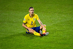 March 23, 2019 - Stockholm, SWEDEN - 190323 Mikael Lustig of Sweden sits down during the UEFA Euro Qualifier football match between Sweden and Romania on March 23, 2019 in Stockholm  (Credit Image: © Simon HastegÃ…Rd/Bildbyran via ZUMA Press)