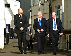 Pictured: Sir Michae lFallon headed to the finishing shed following a tour of MacTaggart Scott with officials from the company. <br /> Today Defence Secretary Sir Michael Fallon visited Midlothian engineering firm MacTaggart Scott which designs, builds and installs lightweight, low-noise hydraulic systems used by the British, US, French, Canadian, Australian and South Korean navies.<br /> Ger Harley | EEm 2 February 2017