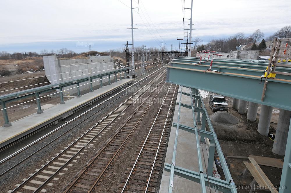 Bridge NE Corridor Track Overpass under Construction. Progress Photo Railroad Station Fairfield Metro Center. Site visit 19