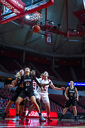 NORMAL, IL - October 30: Kallie Bildner, Julia Ruzevich, Juliunn Redmond, Lexy Koudelka and Lindsay Medlen all watch the ball fall through the hoop during a college women's basketball game between the ISU Redbirds and the Lions on October 30 2019 at Redbird Arena in Normal, IL. (Photo by Alan Look)