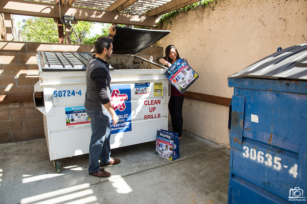 Republic Services marketing campaign for recycling newsletter, photographed in Milpitas, California, on April 13, 2016.  (Stan Olszewski/SOSKIphoto)