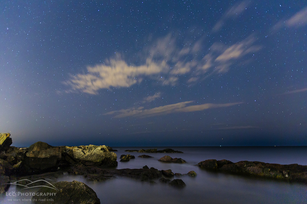 Night sky over the Atlantic Ocean near Wallis Sands State Park in Rye, New Hampshire.