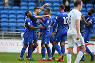 Callum Paterson of Cardiff city © celebrates with his team mates  after he scores his teams 3rd goal.  EFL Skybet championship match, Cardiff city v Birmingham City at the Cardiff city stadium in Cardiff, South Wales on Saturday 10th March 2018.<br /> pic by Andrew Orchard, Andrew Orchard sports photography.
